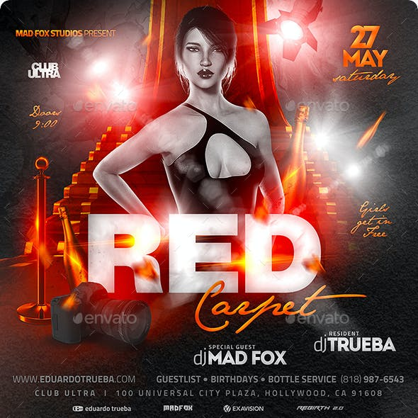 Red Carpet Party Flyer