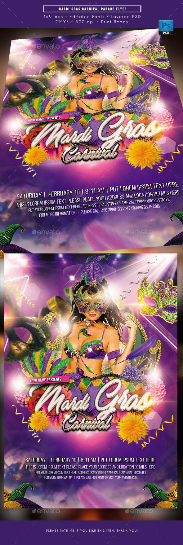 Mardi Gras Carnival Parade Flyer - Holidays Events