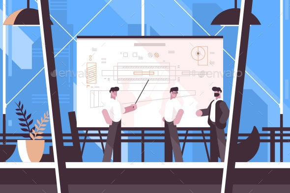 Man Engineer Showing on Blackboard Information - Concepts Business