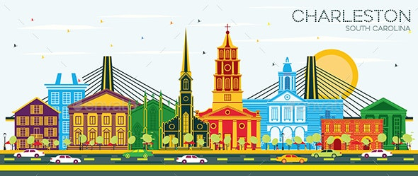 Charleston South Carolina City Skyline with Color Buildings - Buildings Objects