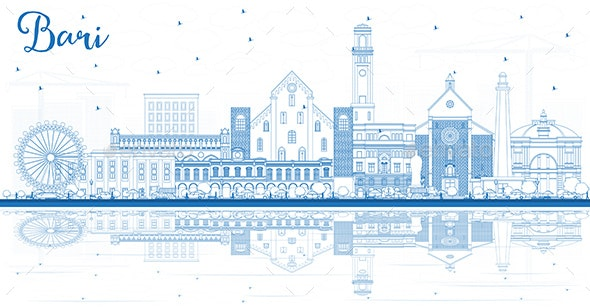 Outline Bari Italy City Skyline with Blue Buildings - Buildings Objects