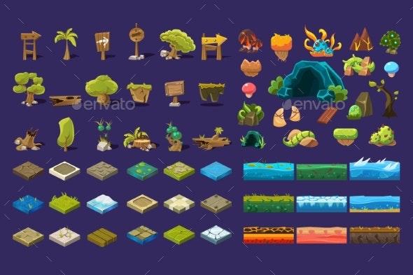 Collection of Natural Landscape Elements, Trees - Miscellaneous Vectors