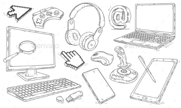 Hand Drawn Set of Devices and Workplace Elements - Man-made Objects Objects