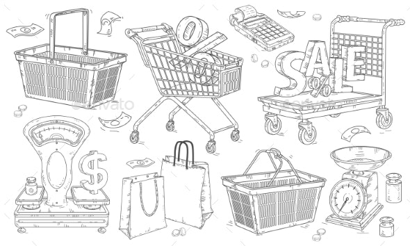 Shopping Doodles Hand Drawn Set - Retail Commercial / Shopping