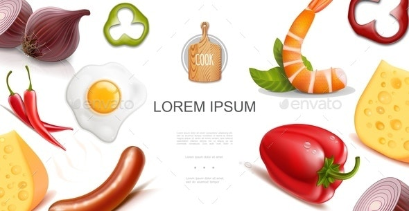Healthy Food Colorful Template - Food Objects