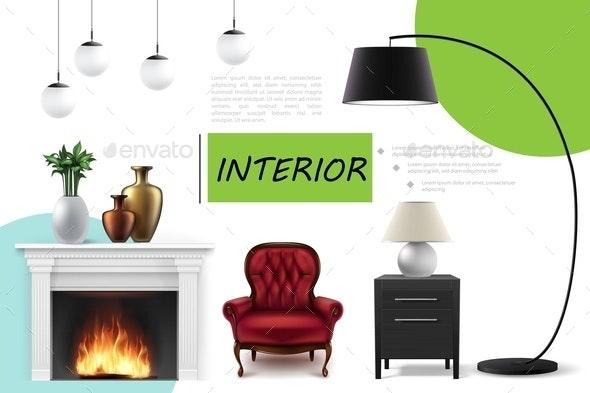 Realistic Home Interior Concept - Miscellaneous Vectors