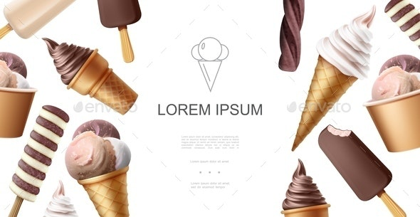 Realistic Tasty Icecream Template - Food Objects