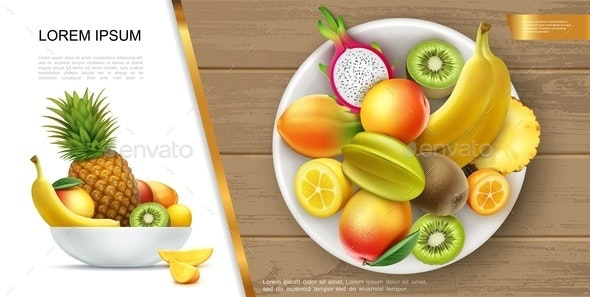 Realistic Fresh Healthy Summer Food Concept - Food Objects