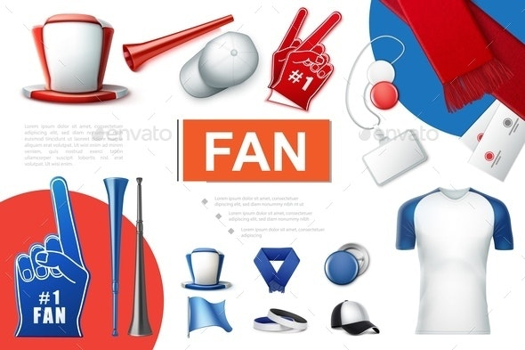 Realistic Fans Accessories Collection - Sports/Activity Conceptual