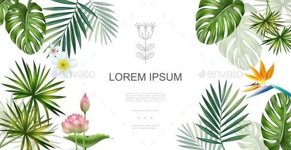 Realistic Tropical Plants Floral Concept - Flowers & Plants Nature