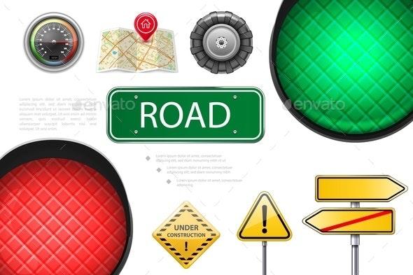 Realistic Road Elements Colorful Composition - Miscellaneous Vectors