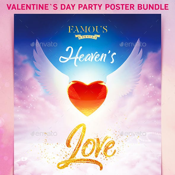 Valentine`s Day Party Poster Bundle