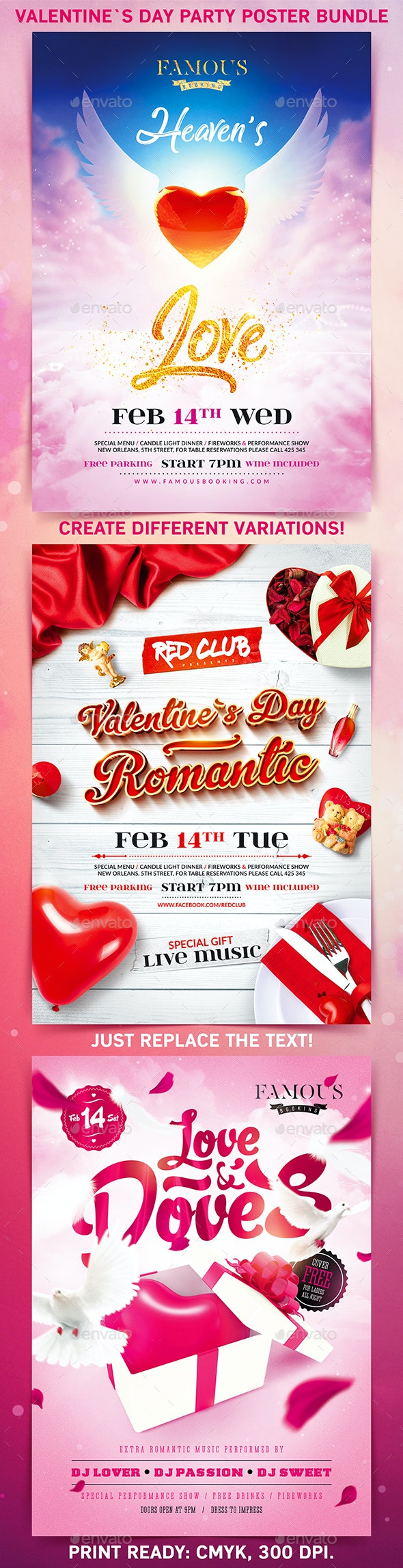 Valentine`s Day Party Poster Bundle - Holidays Events