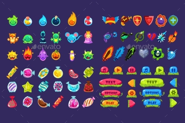 Collection of Colorful User Interface Assets - Miscellaneous Vectors