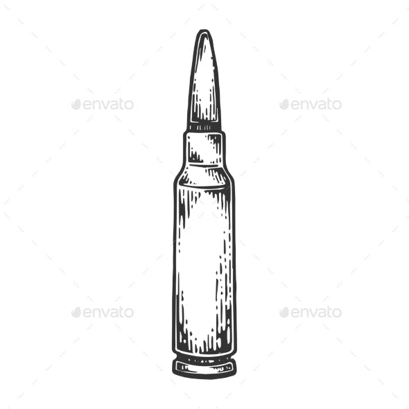 Firearms Cartridge Engraving Vector Illustration