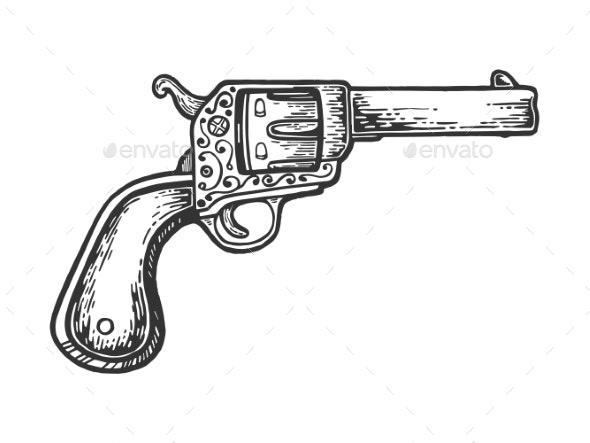 Vintage Cowboy Revolver Engraving Vector - Miscellaneous Vectors