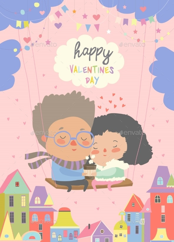 Two Lovers Sitting on Swing - People Characters