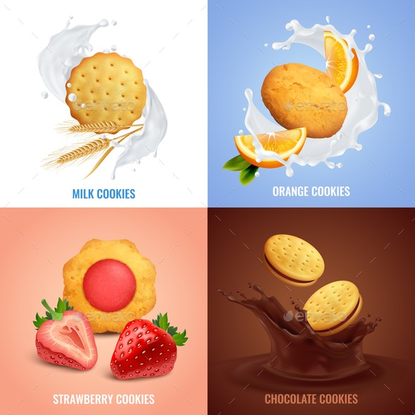 Cookies Concept Icons Set - Food Objects