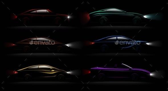 Lightened Cars Darkness Realistic Set