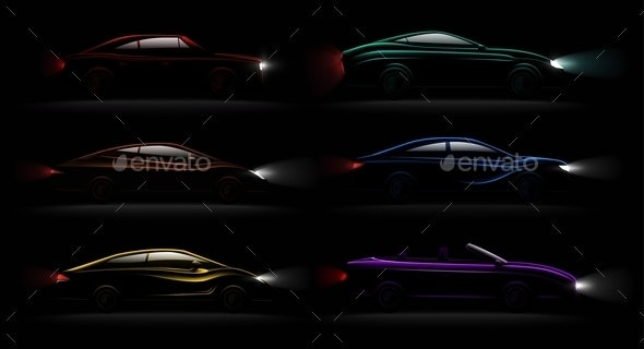 Lightened Cars Darkness Realistic Set - Miscellaneous Vectors