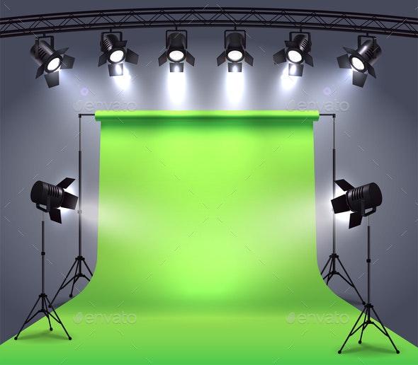 Photo Studio Spotlights Composition - Miscellaneous Vectors