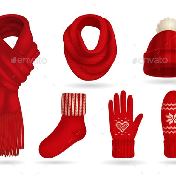 Winter Red Knitted Clothes Set