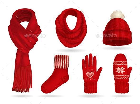 Winter Red Knitted Clothes Set - Man-made Objects Objects