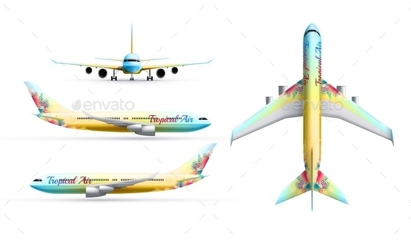 Colorful Airliners Realistic Set - Travel Conceptual