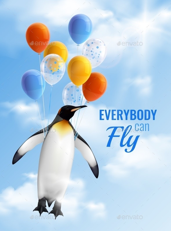 Penguin Flying By Air Balloons - Animals Characters