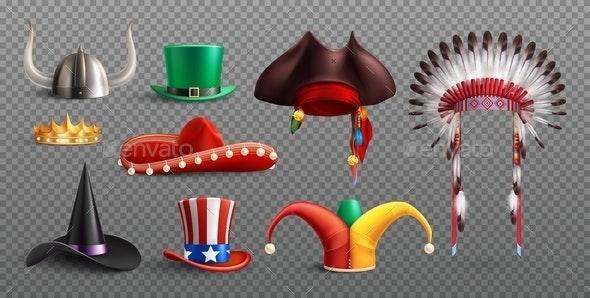 Realistic Masquerade Hats Transparent Set - Miscellaneous Vectors