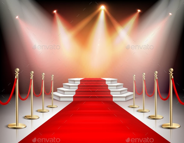 Realistic Red Carpet With Illumination - Backgrounds Decorative