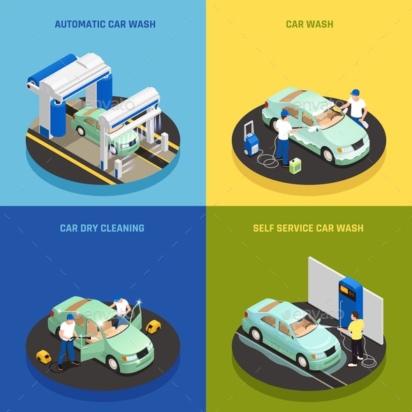 Carwash Concept Icons Set - Services Commercial / Shopping