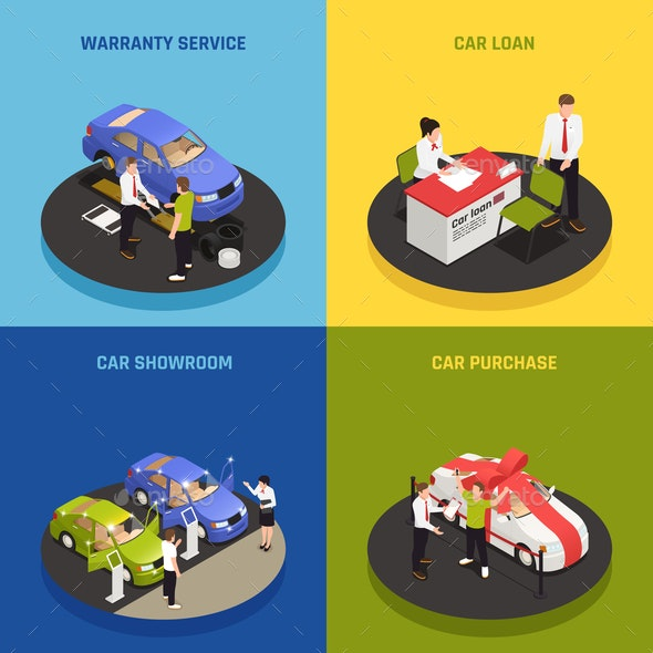 Car Dealership Concept Icons Set - Industries Business