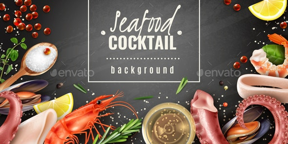 Seafood Cocktail Background Poster - Food Objects