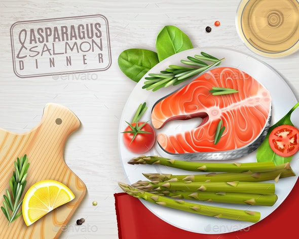 Asparagus Salmon Dish Realistic Image - Food Objects