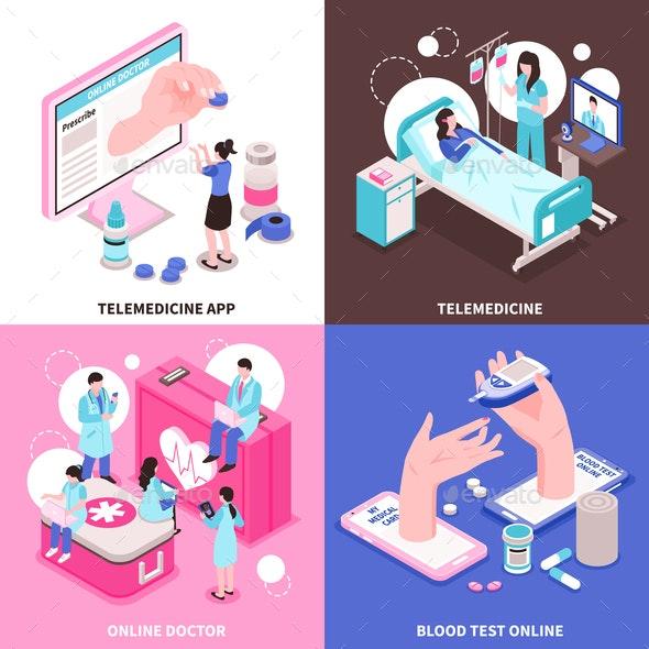 Online Medicine 2x2 Concept - Health/Medicine Conceptual