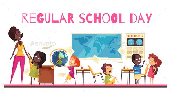 School Class Cartoon Illustration - Miscellaneous Vectors