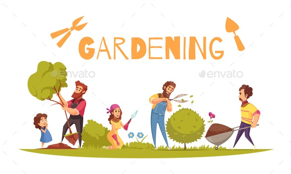Horticulture Cartoon Illustration - People Characters