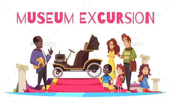 Ground Transportation Museum Excursion Illustration - People Characters