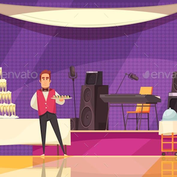 Banquet Preparation Cartoon Illustration