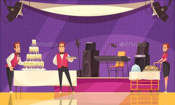 Banquet Preparation Cartoon Illustration - Food Objects