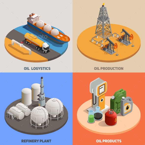 Oil Industry Isometric Concept - Industries Business