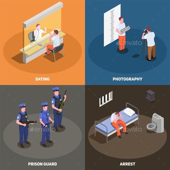 Prison Jail Isometric Concept - Miscellaneous Vectors