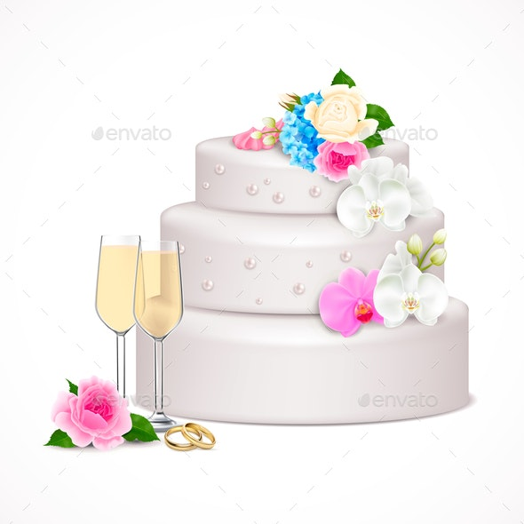 Wedding Cake Realistic Composition - Food Objects