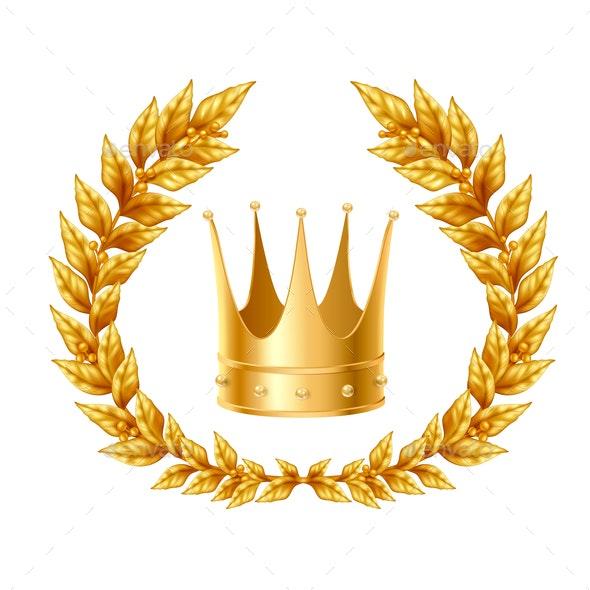 Golden Laurel Wreath and Crown - Sports/Activity Conceptual