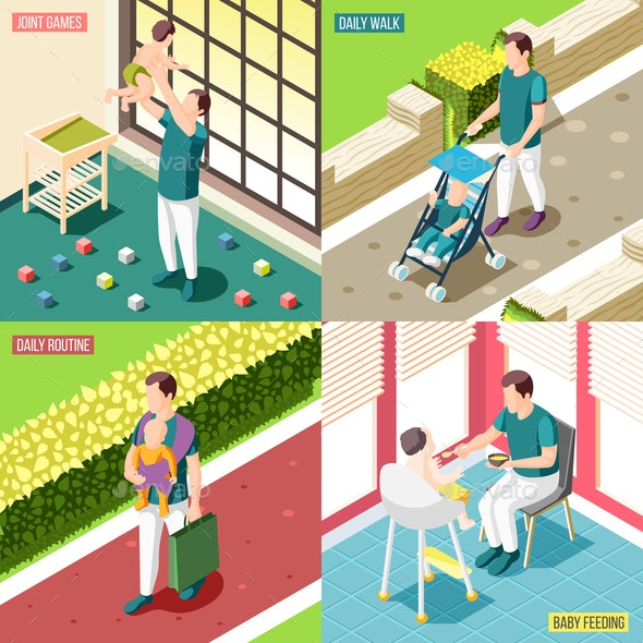 Fathers on Maternity Leave 2x2 Design Concept - People Characters