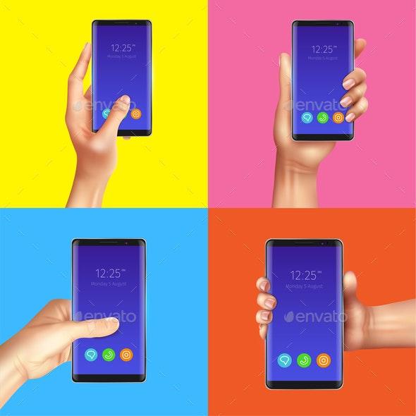 Realistic Gadgets Hands Design Concept - Backgrounds Decorative