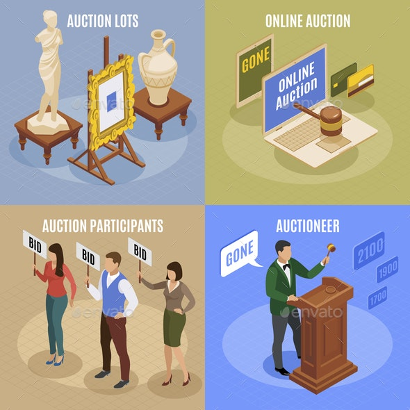 Auction Isometric Concept Set - Industries Business
