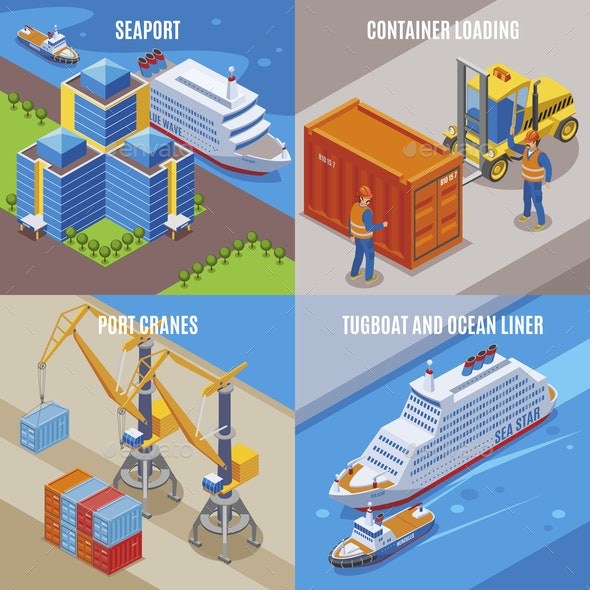 Four Seaport Isometric Icon Set - Industries Business