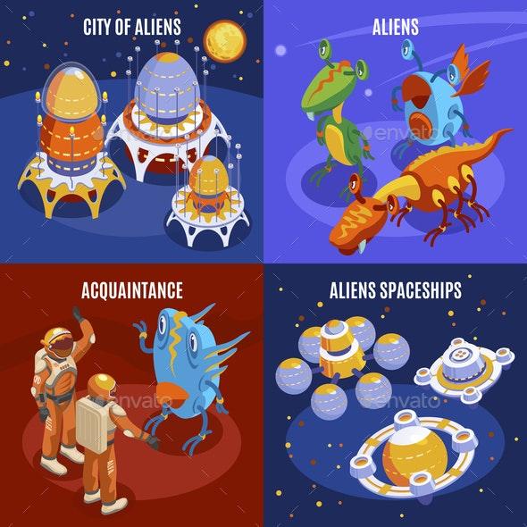 Aliens Isometric Composition - Miscellaneous Vectors